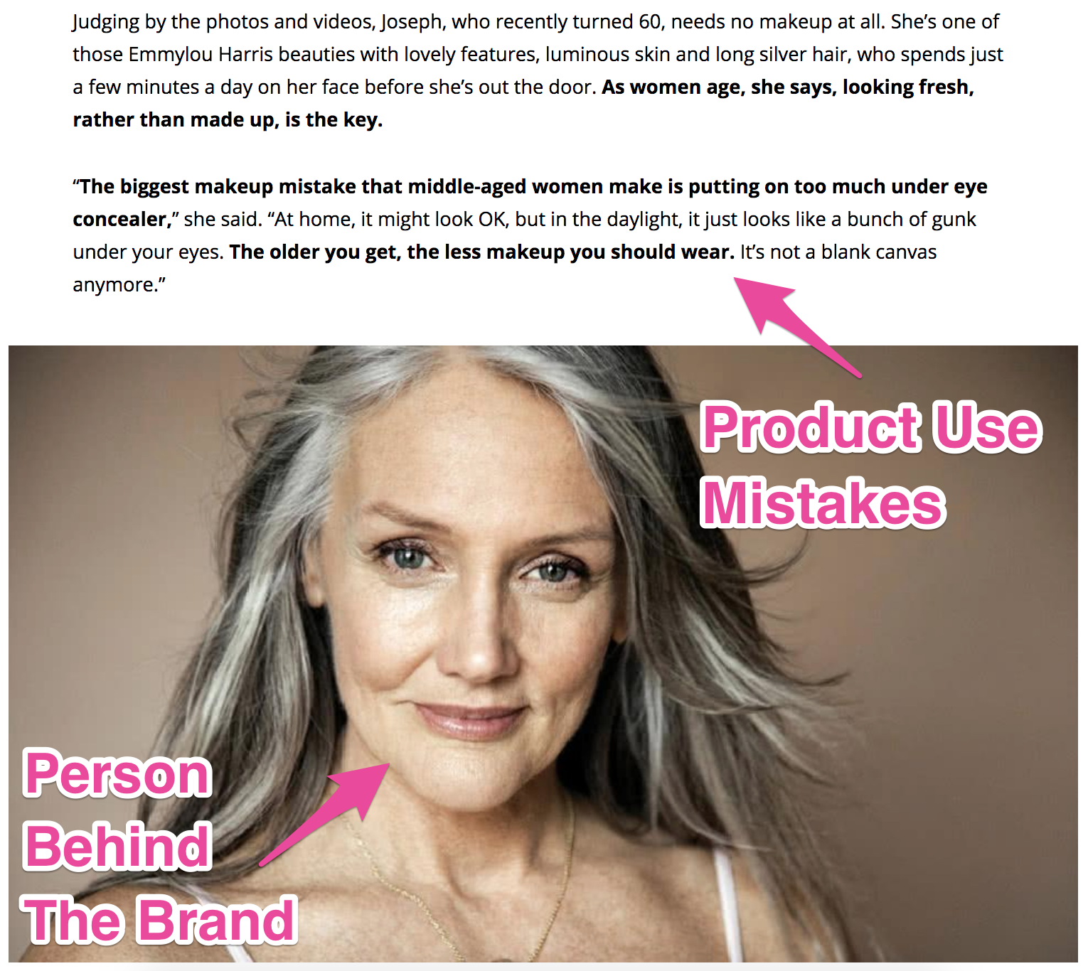 Screenshot showing copy that details mistakes in using a product, and a picture of the person behind the brand