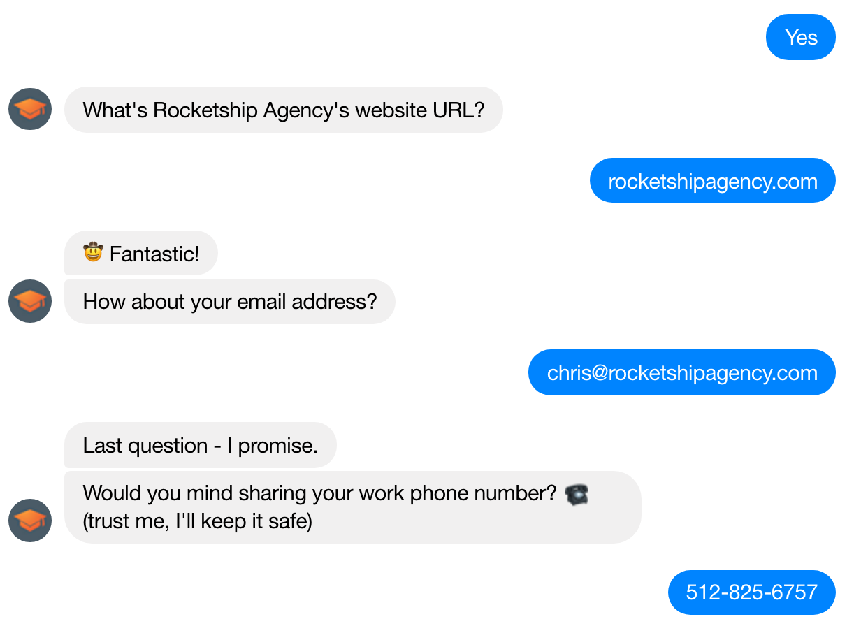 Screenshot showing a messenger conversation