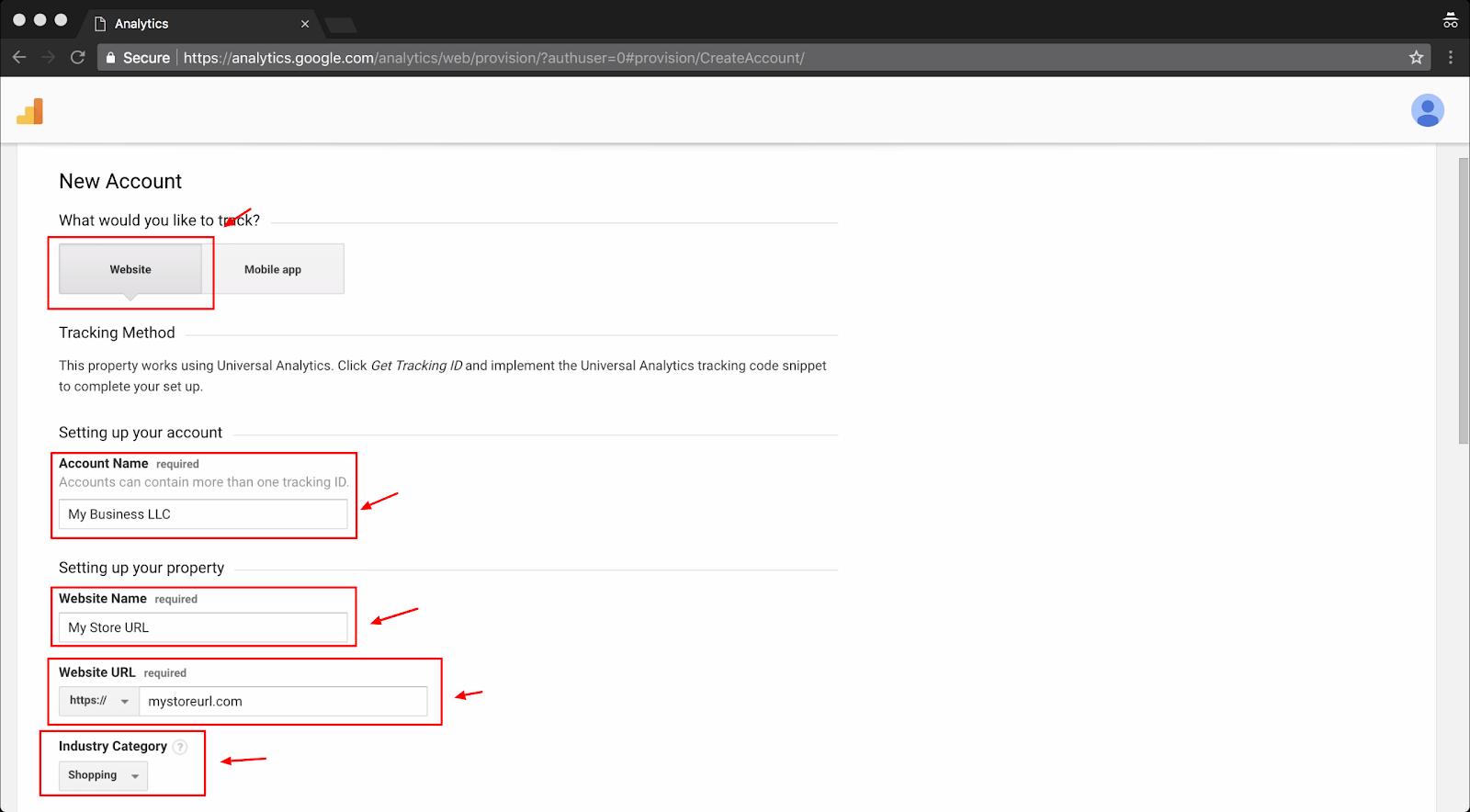 Screenshot showing google analytics settings page