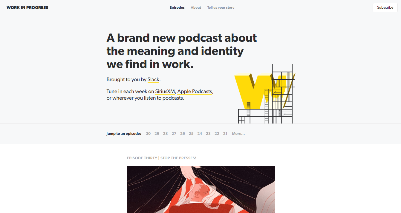 Screenshot showing the Work In Progress podcast