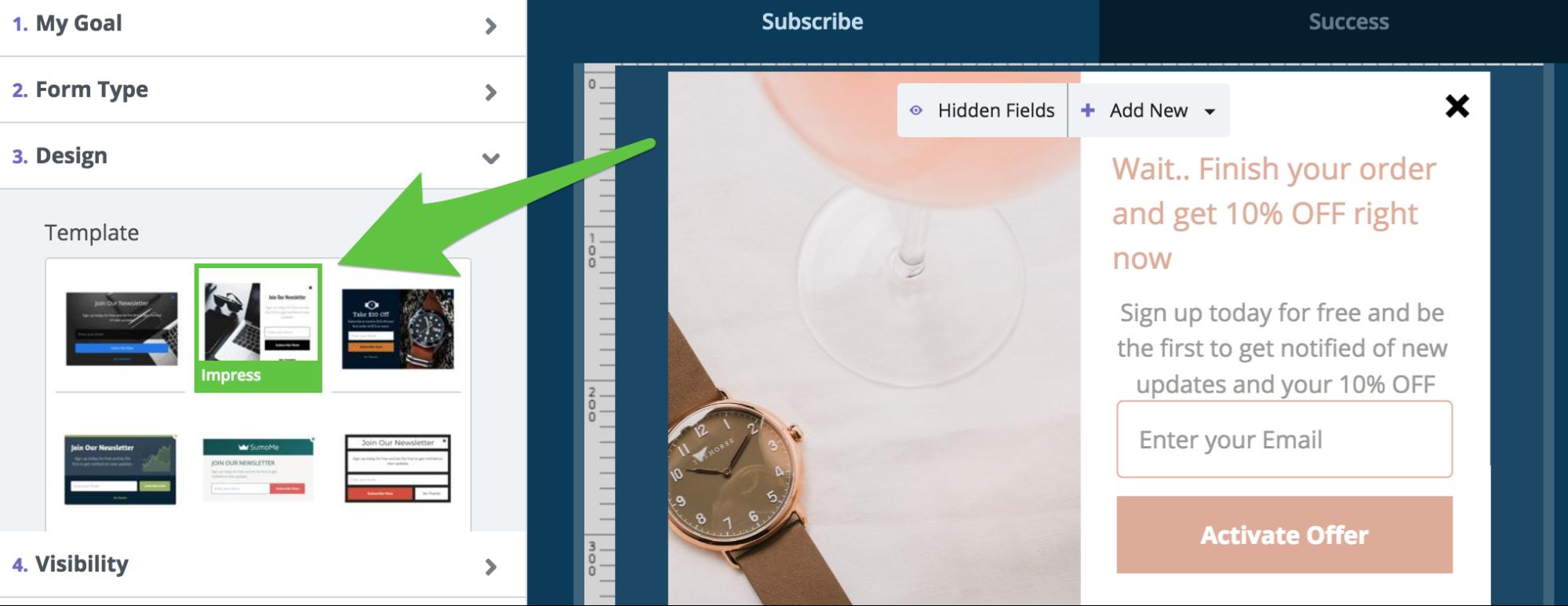 Screenshot showing Sumo popup settings