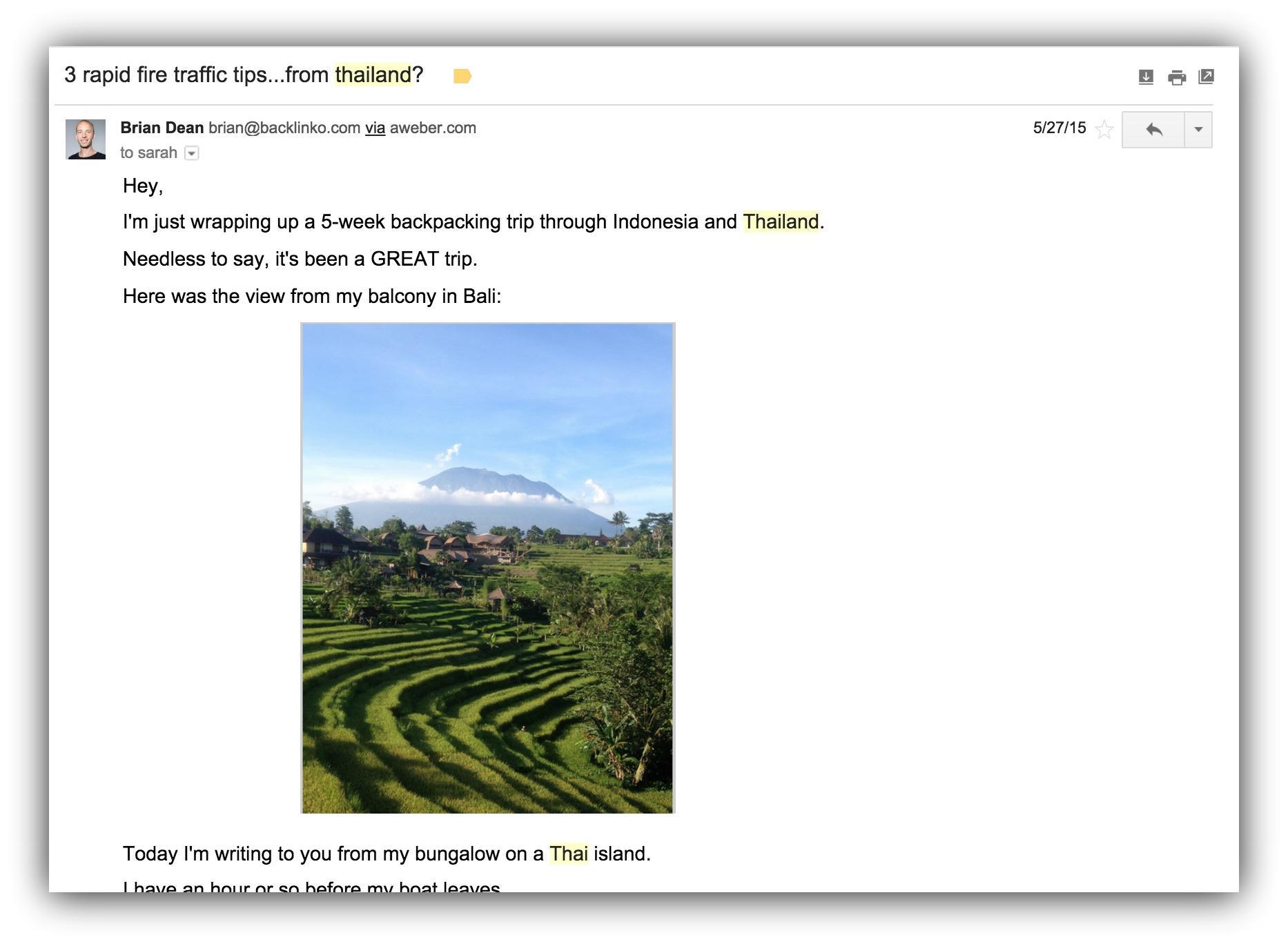 Screenshot of a n email sent by Brian Dean of backlinko.com