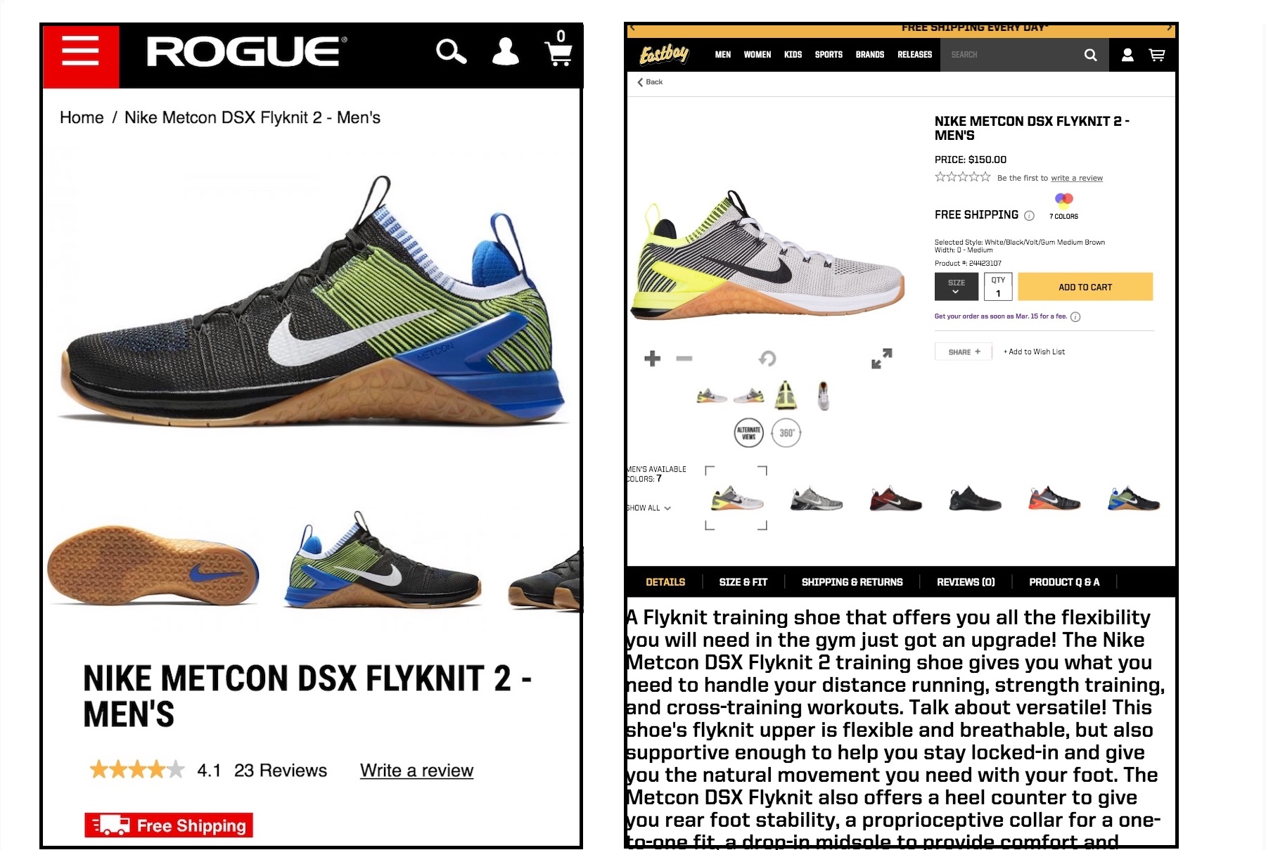 Screenshot showing product page and its description