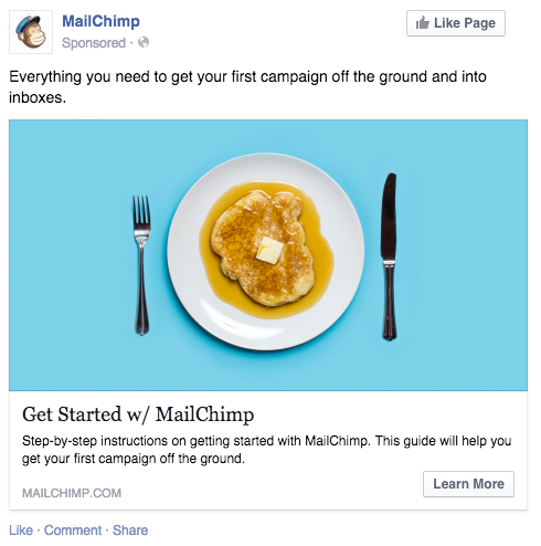 Screenshot showing a facebook post by mailchimp