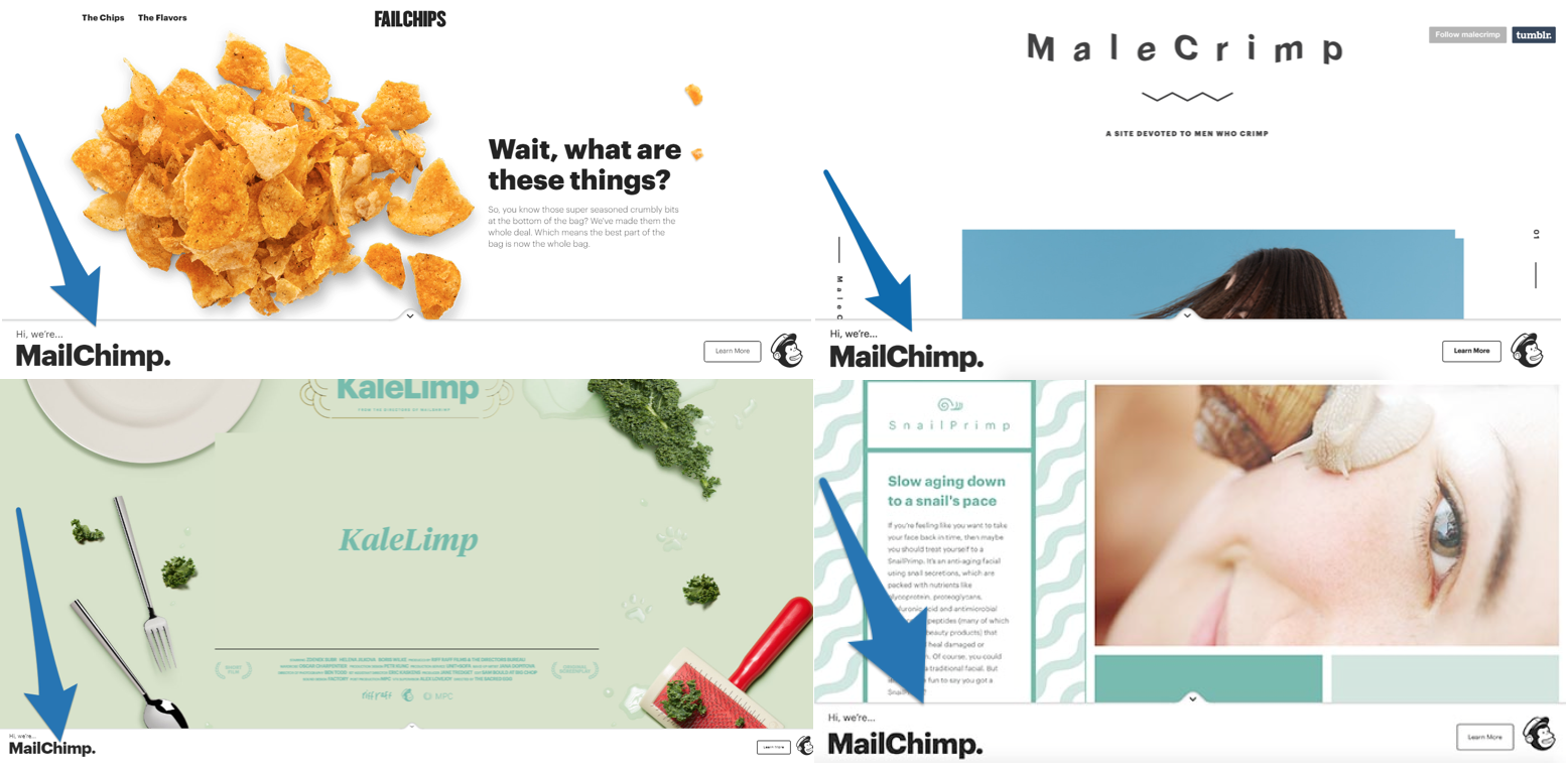 Screenshot showing four different pages on te mailchimp website
