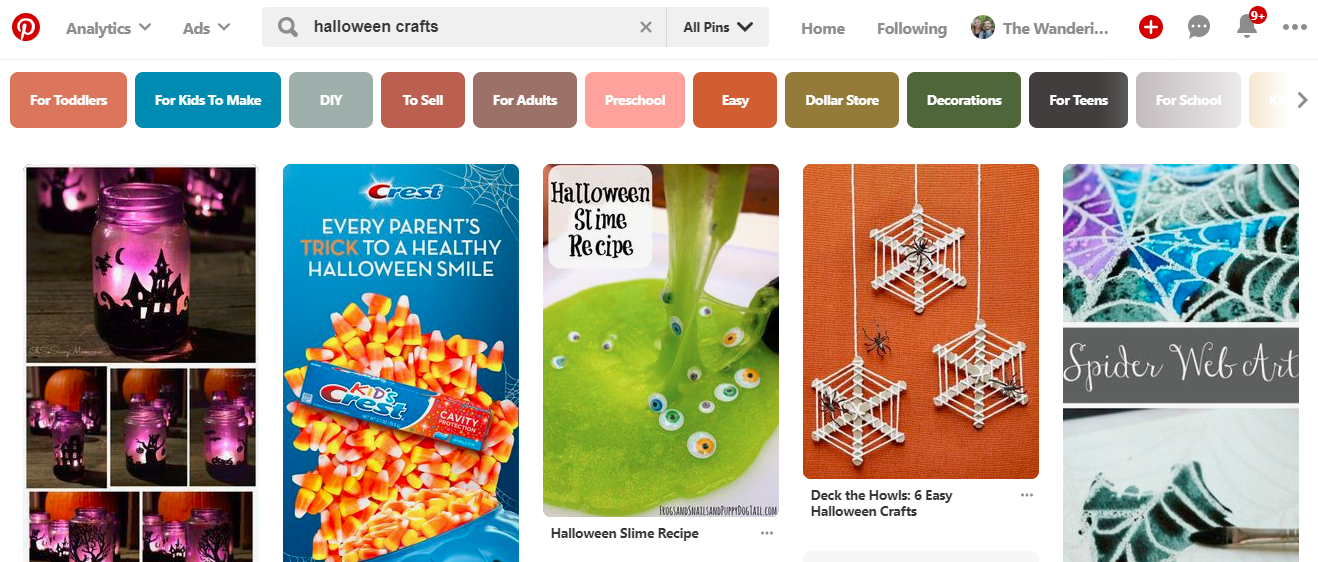 """Screenshot showing pinterest search results for """"Halloween crafts"""""""