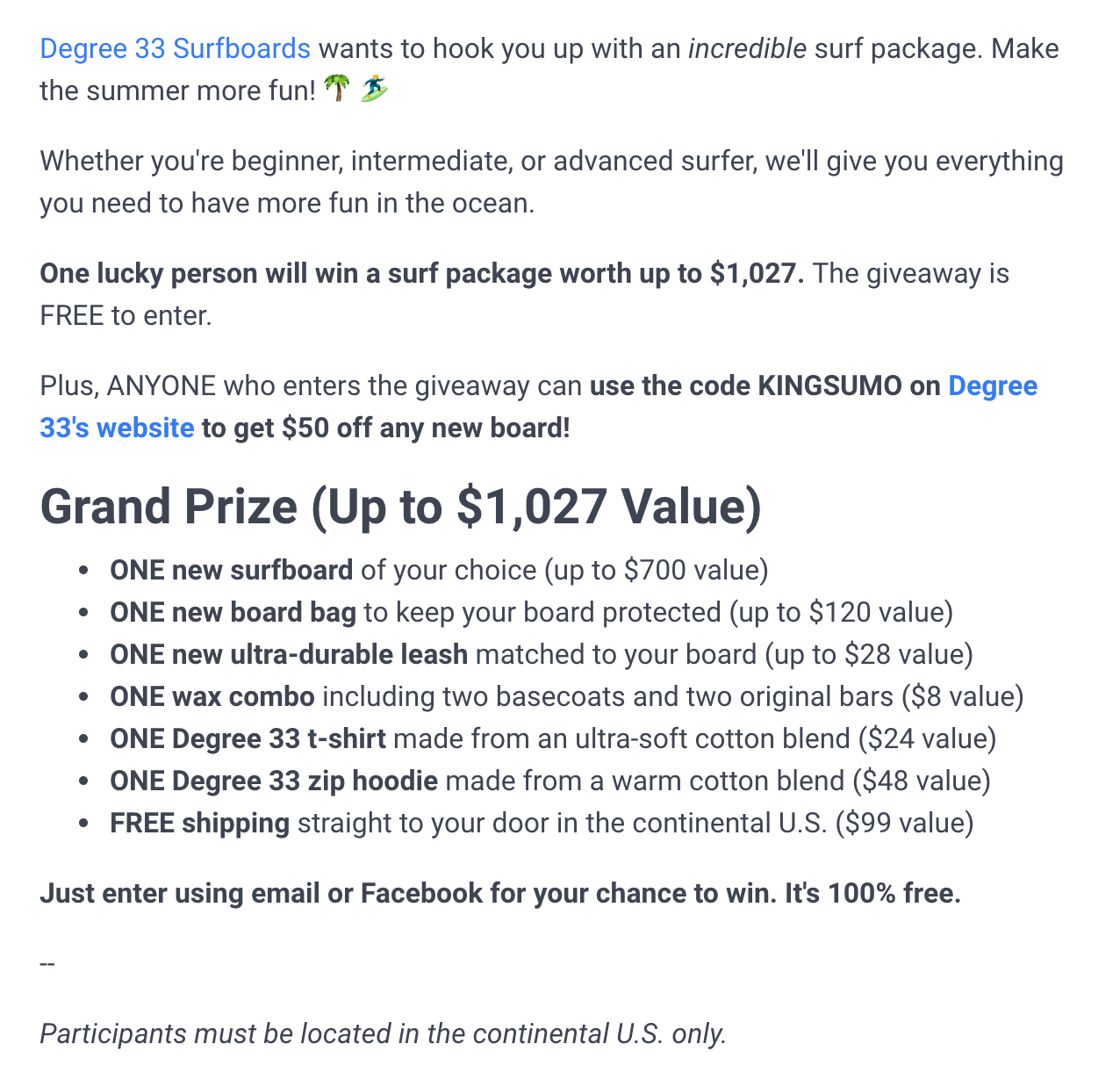 Screenshot showing copy for a sweepstakes