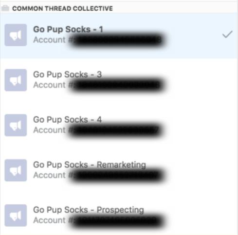 Screenshot showing multiple Facebook ad accounts