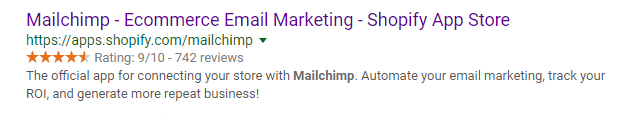 Screenshot showing Mailchimp for Shopify google search result