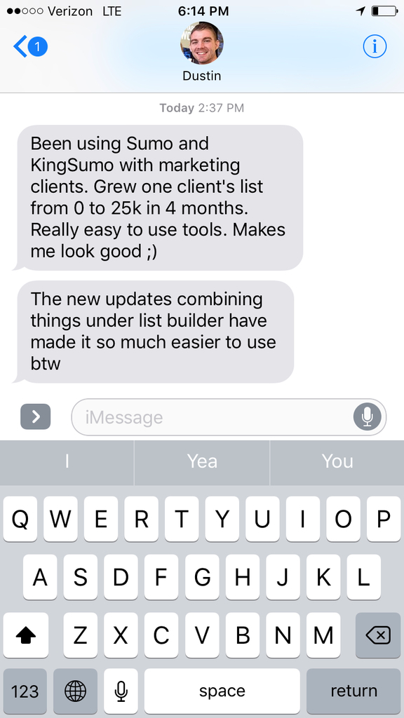 Screenshot of an iMessage conversation