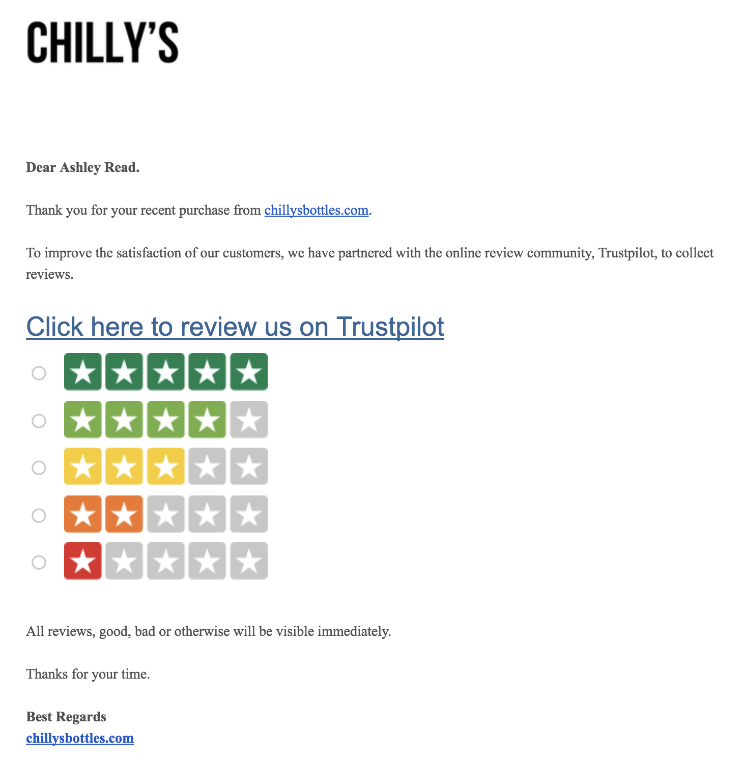 Screenshot showing a review page by Chilly