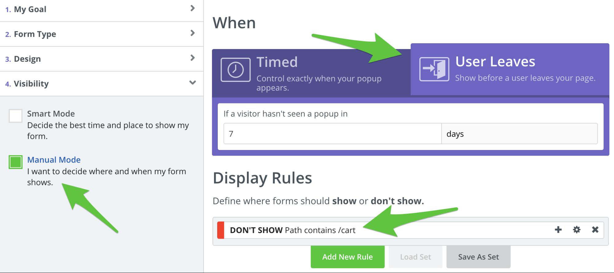 Screenshot showing popup settings