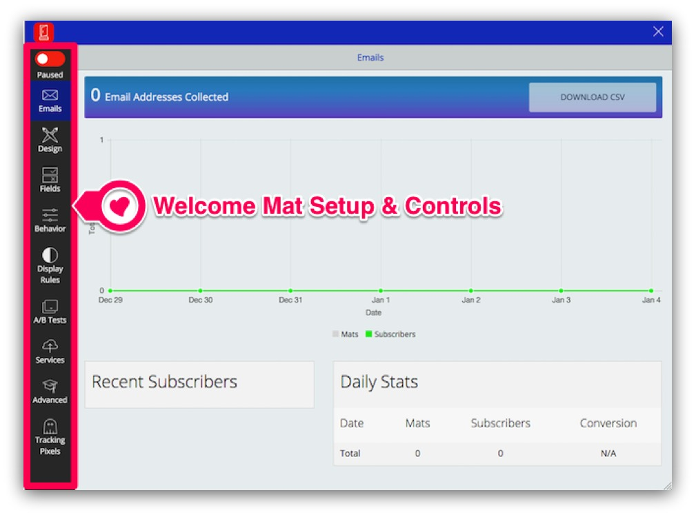 Screenshot showing how you can set up Welcome Mat