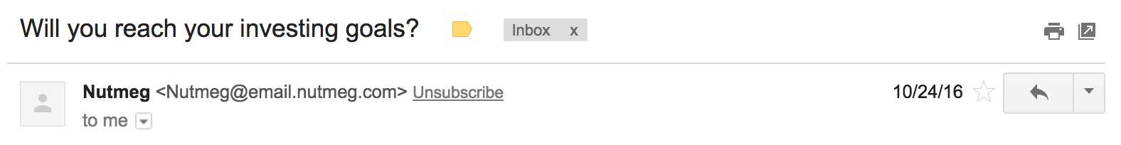 Nutmeg email subject example