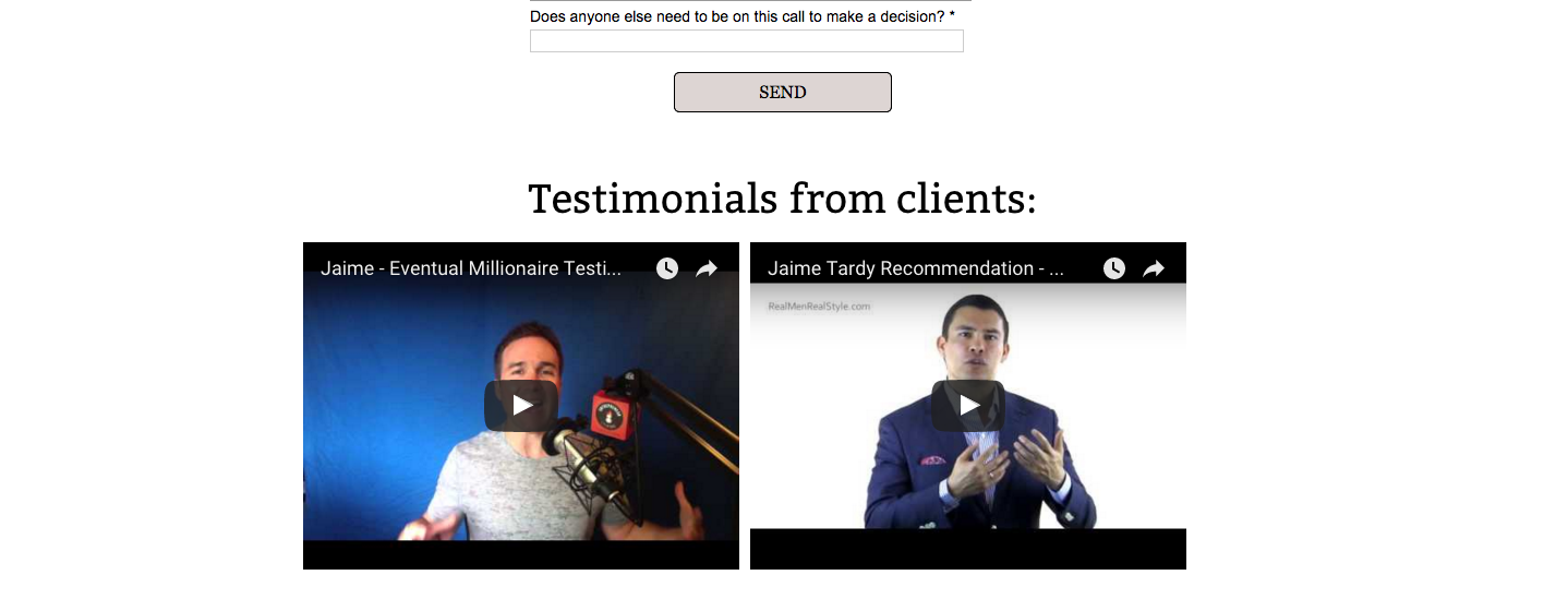 Screenshot of Eventual Millionaire using video testimonials recorded by influencers to build trust