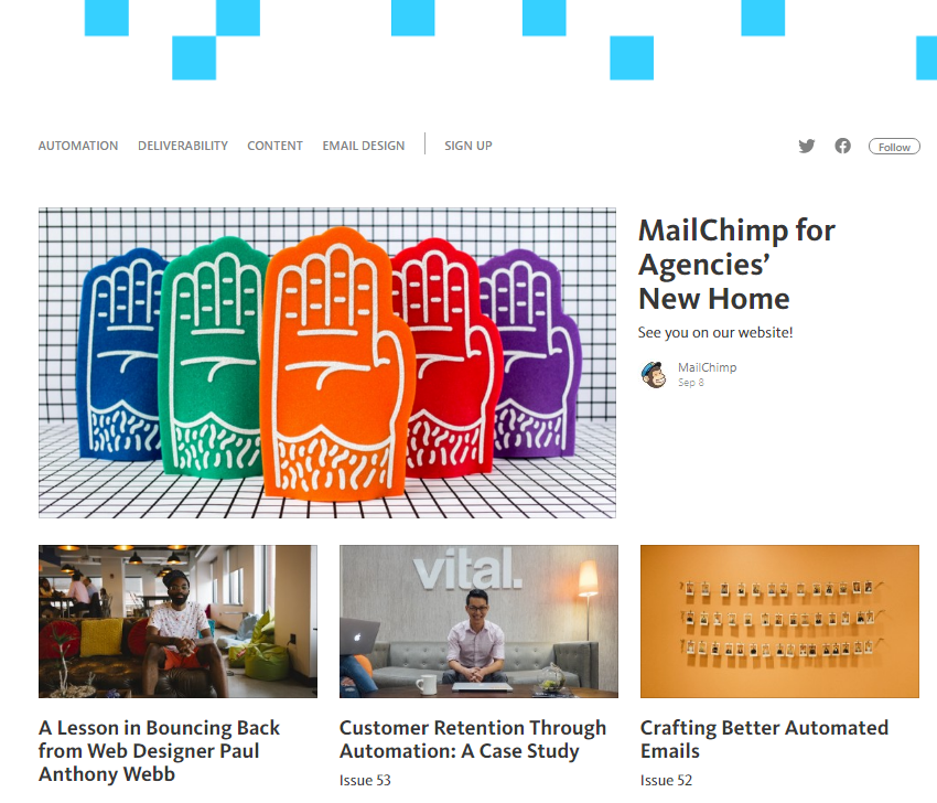 Screenshot showing posts by mailchimp