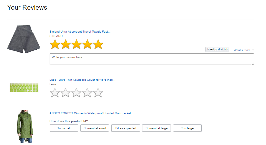 Screenshot showing reviews on amazon