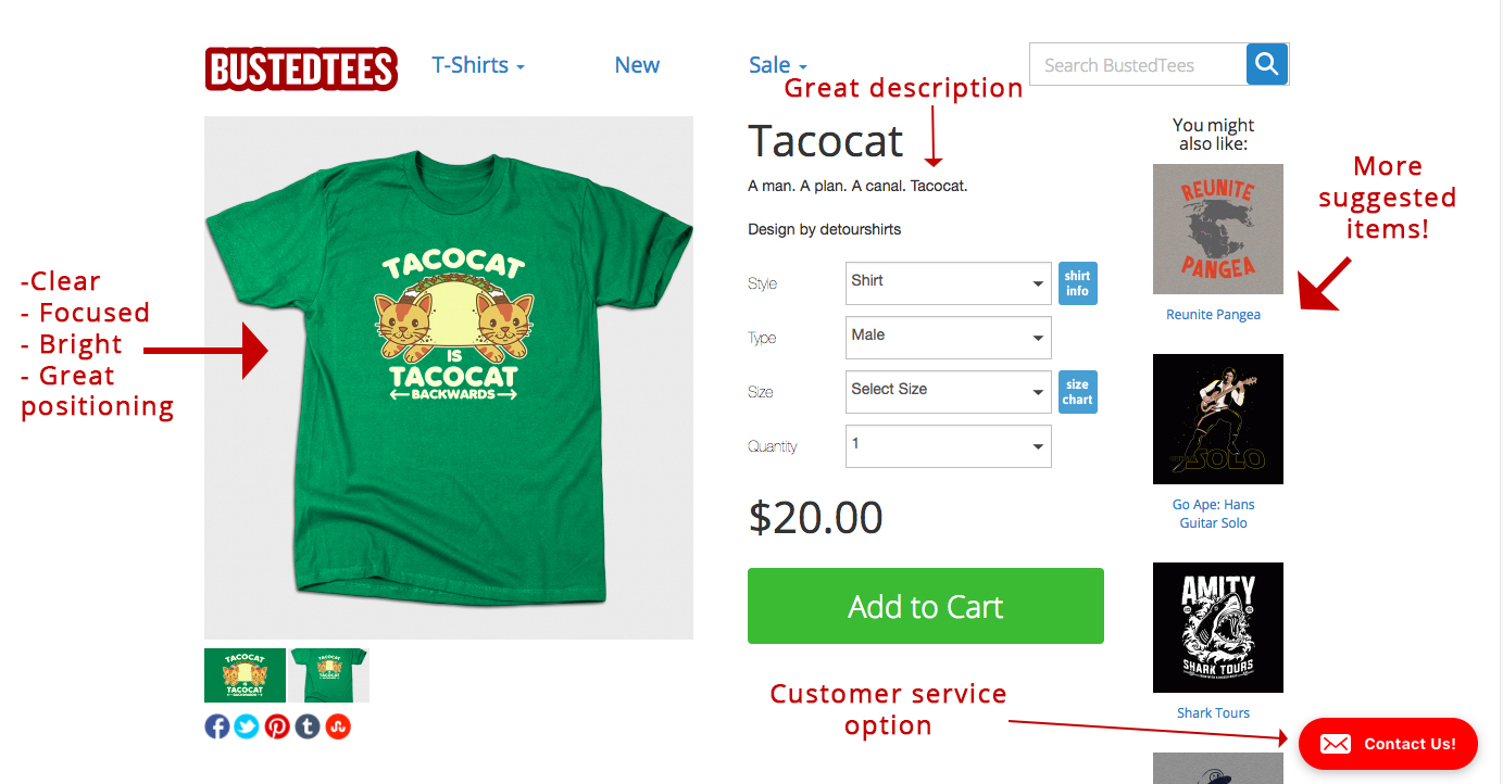 Screenshot showing a tshirt on bustedtees