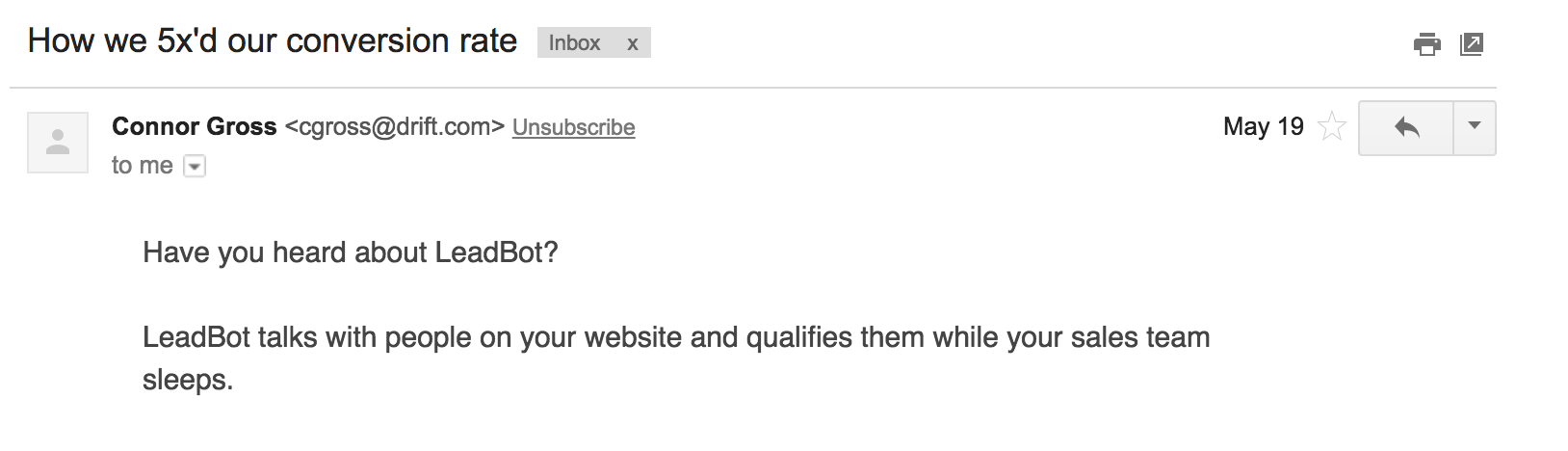 Leadbot email subject example