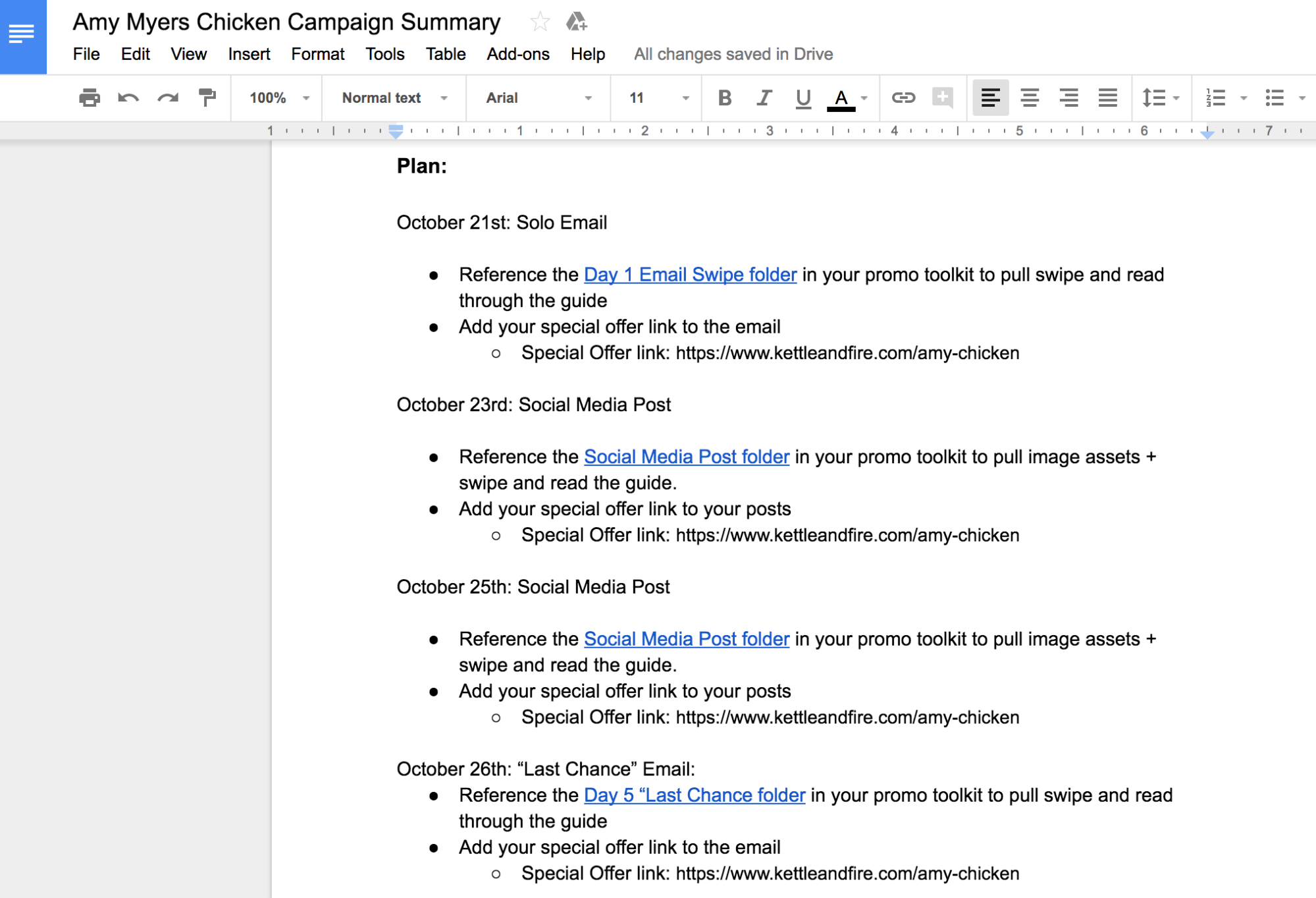 Screenshot showing a google doc