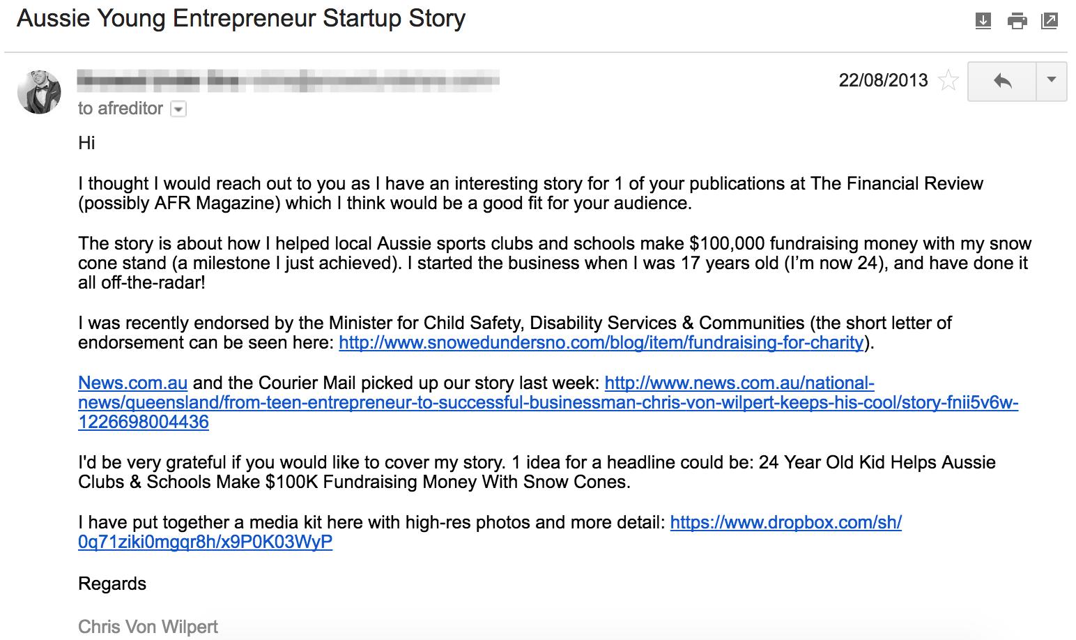 Screenshot of a reachout email by Chris Von Wilpert