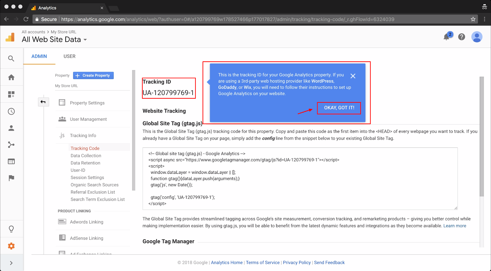 Screenshot showing a page on google analytics