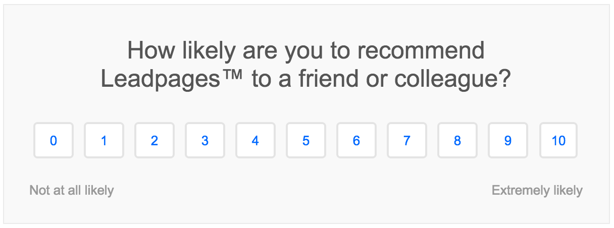 Screenshot showing a small questionnaire to leadpages customers