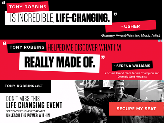 Screenshot of testimonials for Tony Robbins