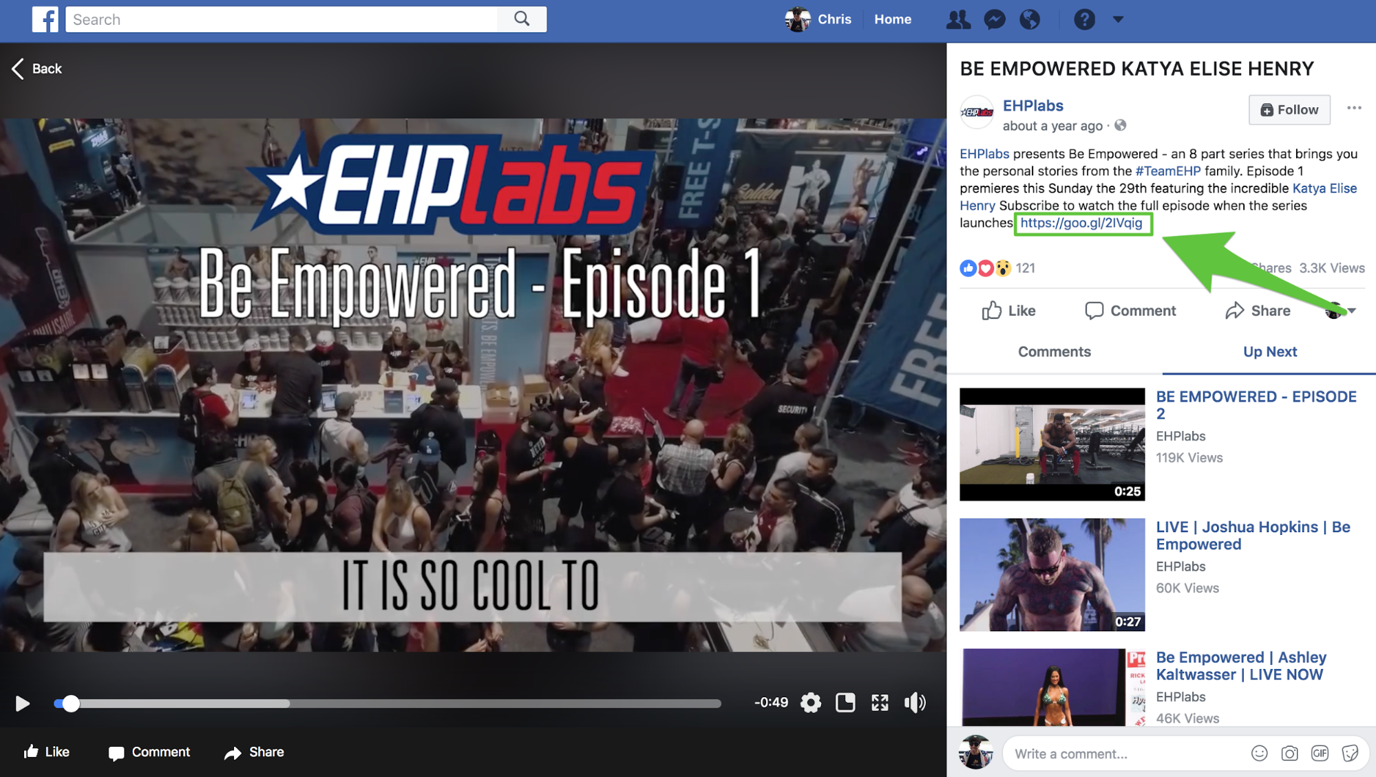 Screenshot showing a Facebook video by EHPlabs