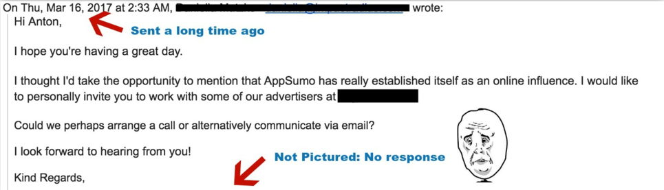 Screenshot of a bad outreach email sent to Anton