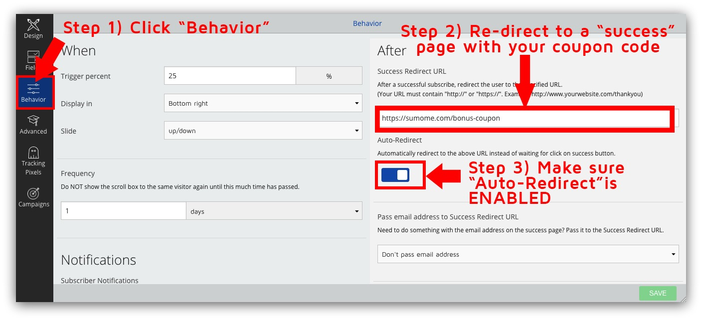 How to build an email list screenshot showing the behavior tab for a list builder popup in the sumo dashboard fandeluxe