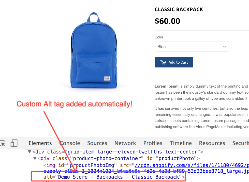 Screenshot showing how a plugin automatically adds an alt tag