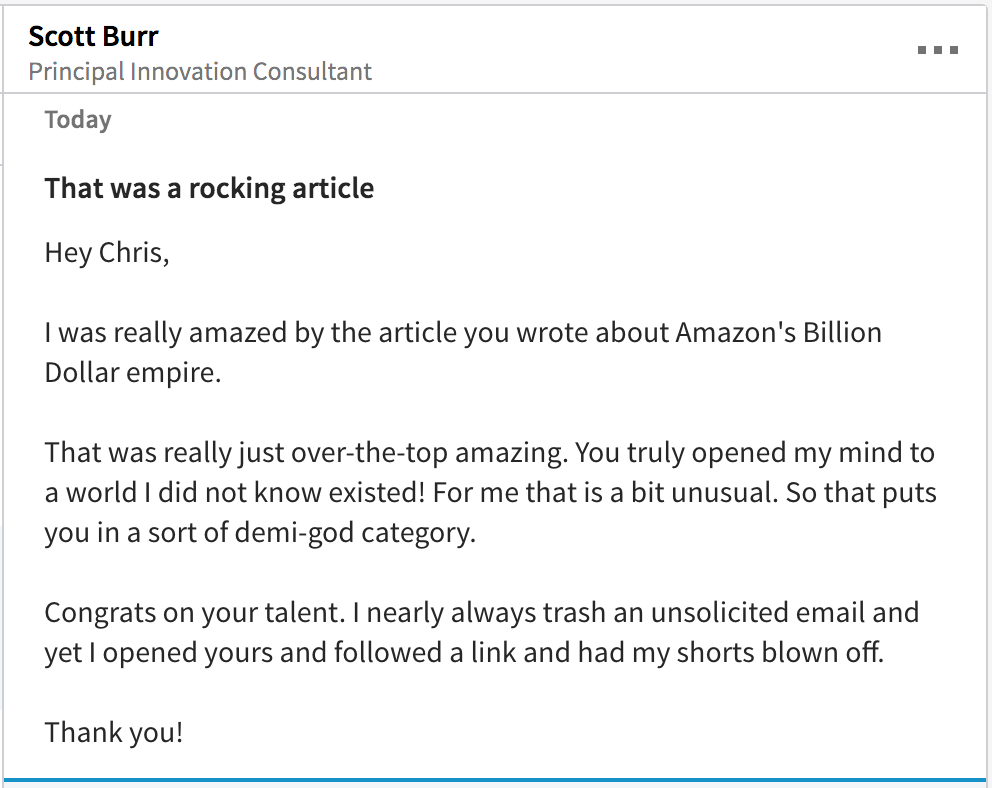 Screenshot of a LinkedIn message sent by Scott Burr to Chris Von Wilpert