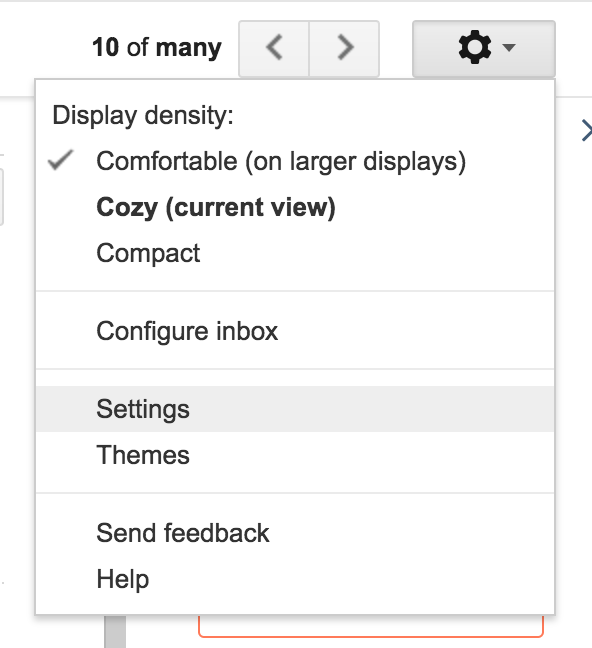 Screenshot of the link to the settings page on Gmail