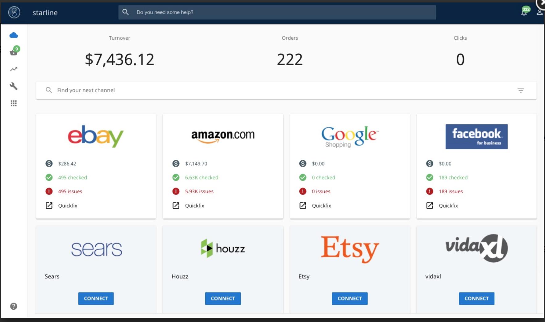 Screenshot showing the Starline dashboard