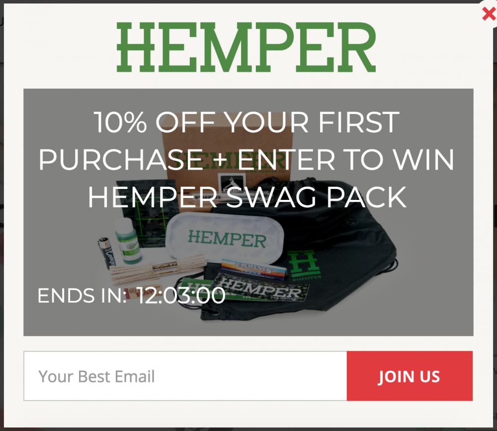 Screenshot of a promotional popup aimed to collect emails