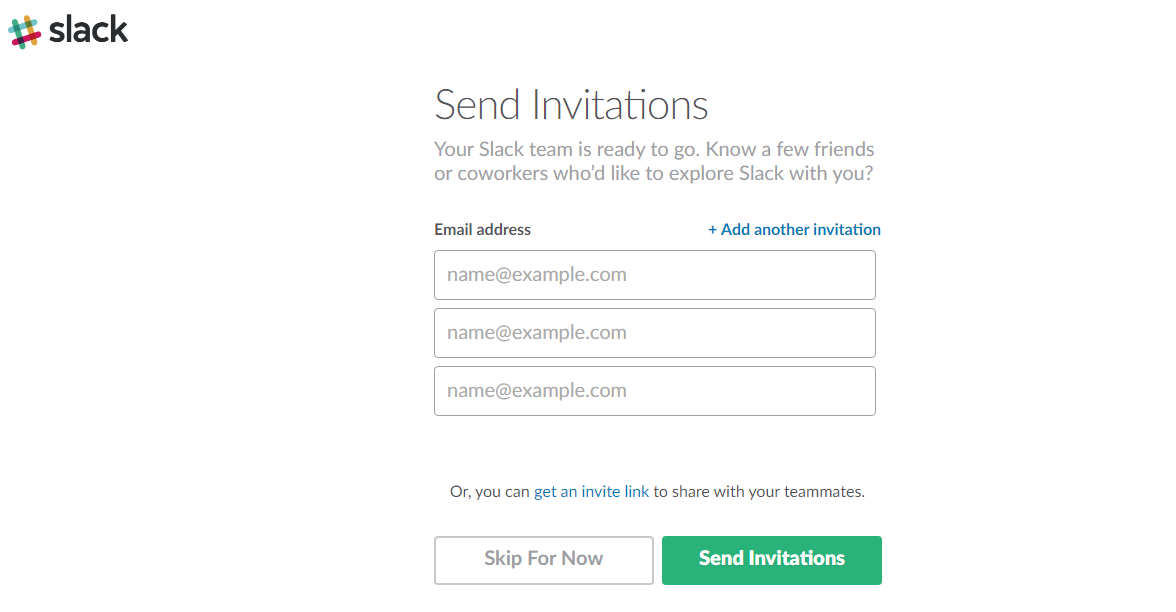"Screenshot showing the ""Send Invitations"" page for Slack"