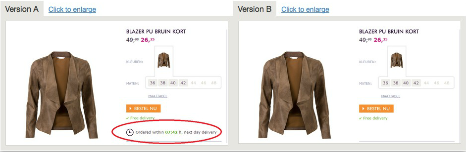 Screenshot showing an ecommerce product being ab tested, with one having an extra piece fo copy