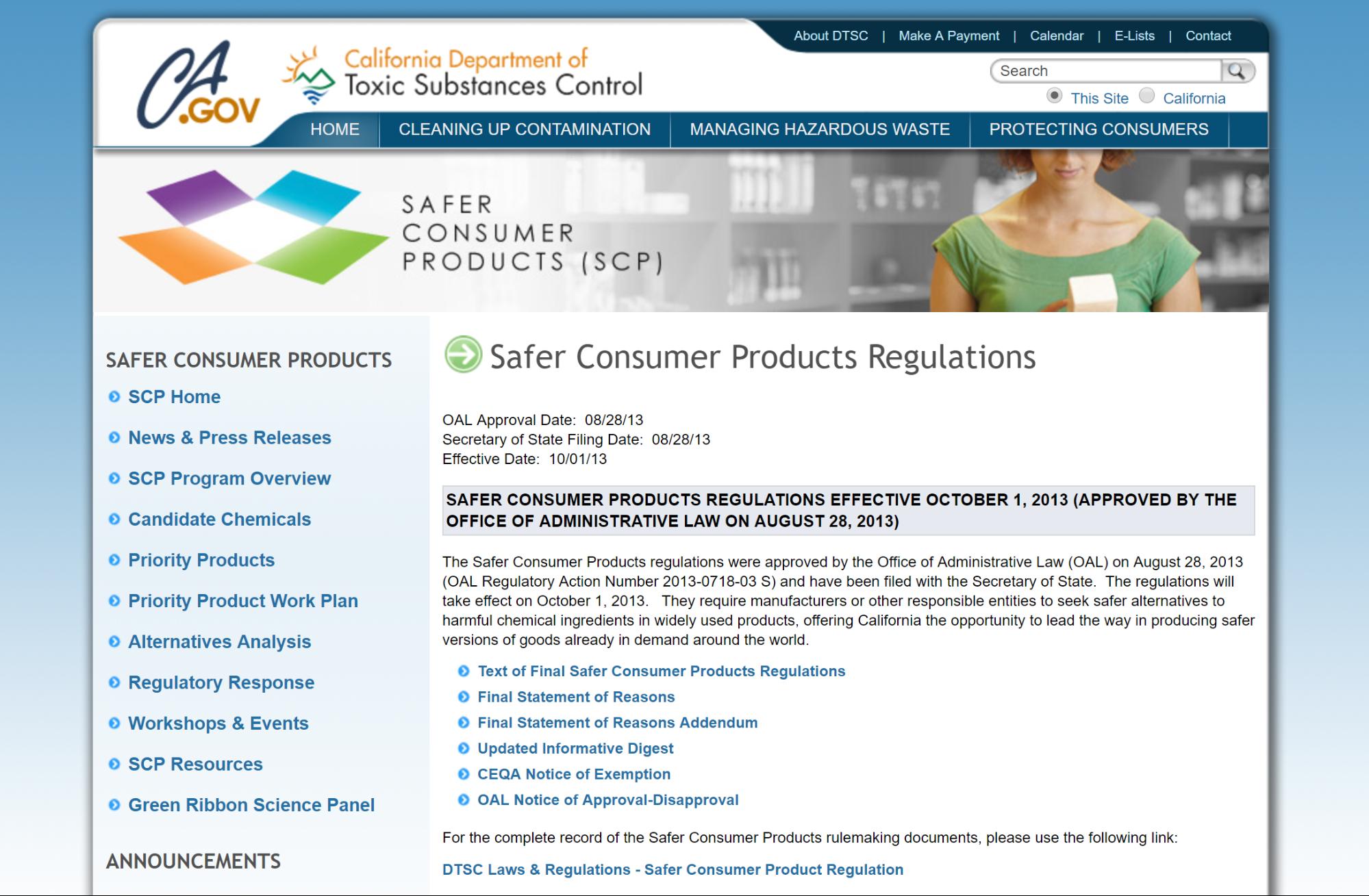 Screenshot showing consumer regulations for California
