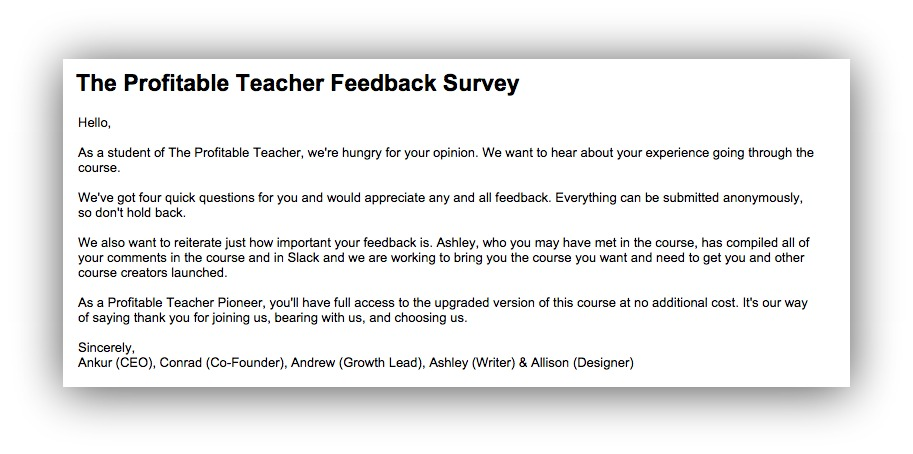 the profitable teacher feedback survey