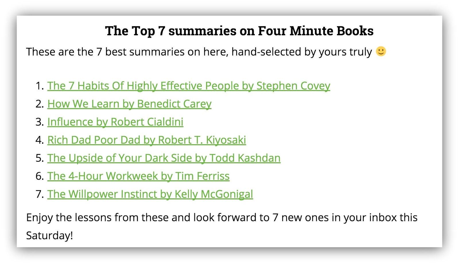 top 7 summaries on four minute books