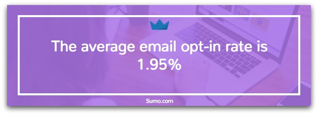 Screenshot showing the average opt-in rates for Sumo users