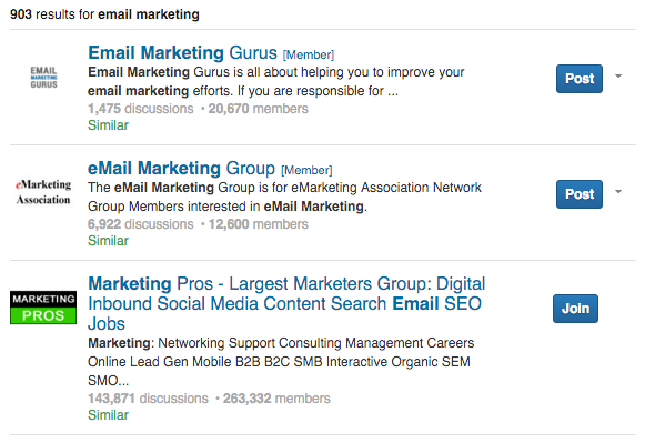 linkedin email marketing groups
