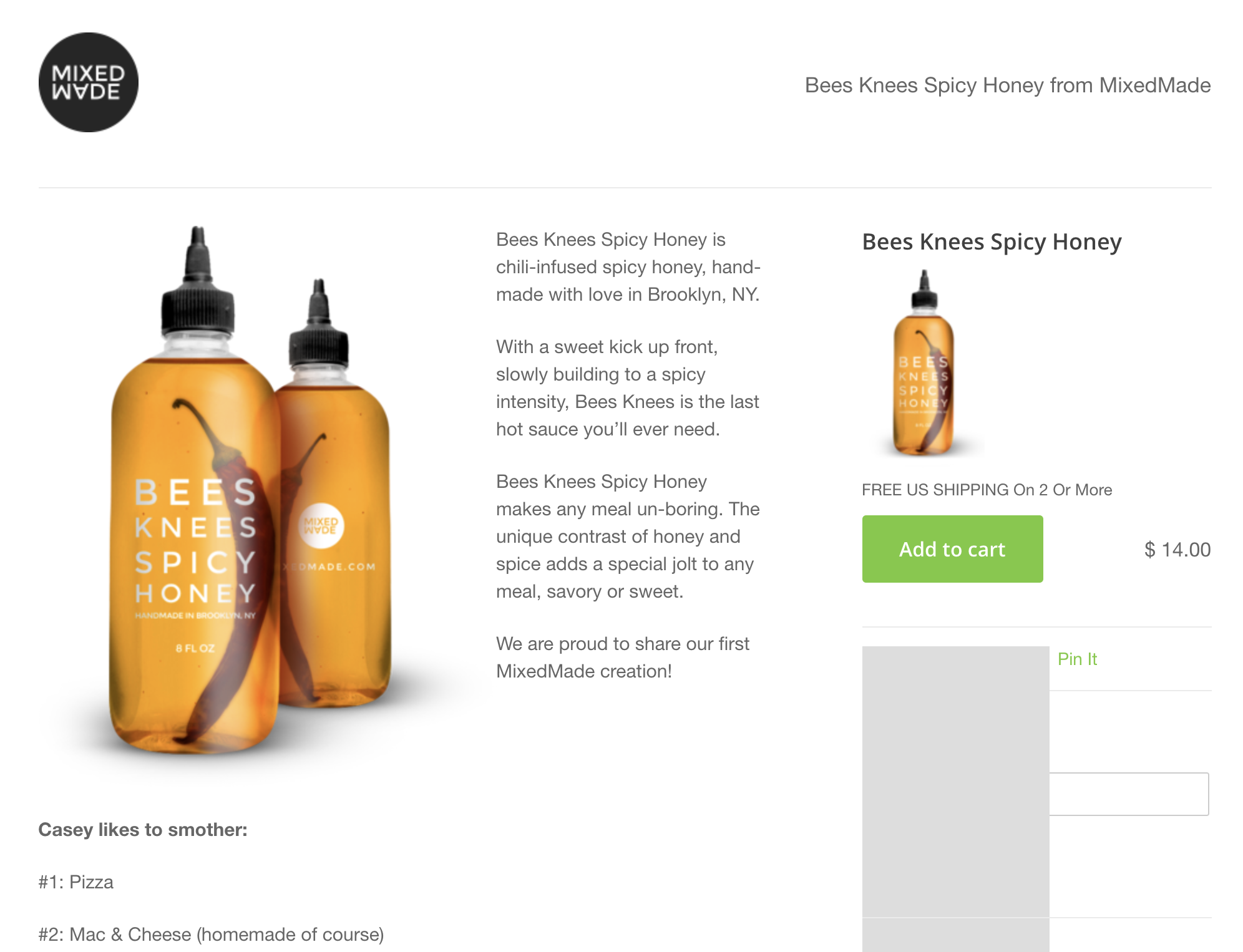 Screenshot showing a product page on an ecommerce store