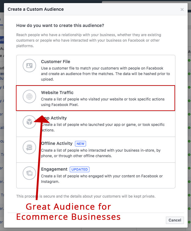 Screenshot showing a facebook ads audience page