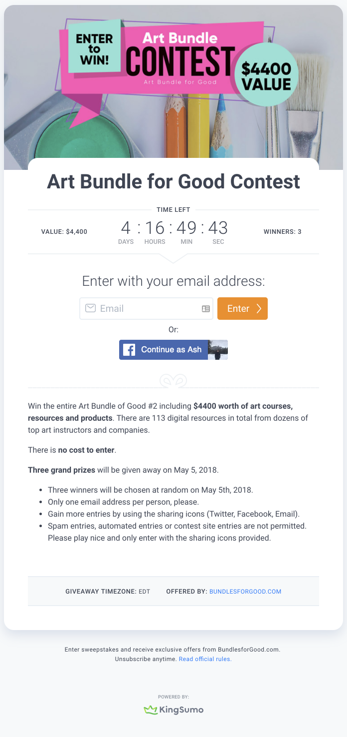 Screenshot showing information about a sweepstakes