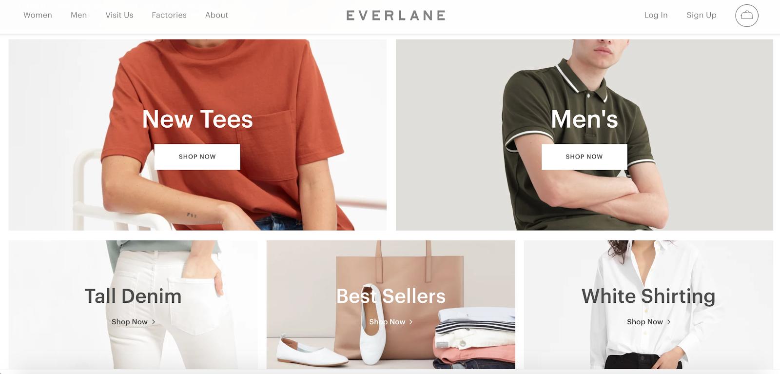 Screenshot showing Everlane