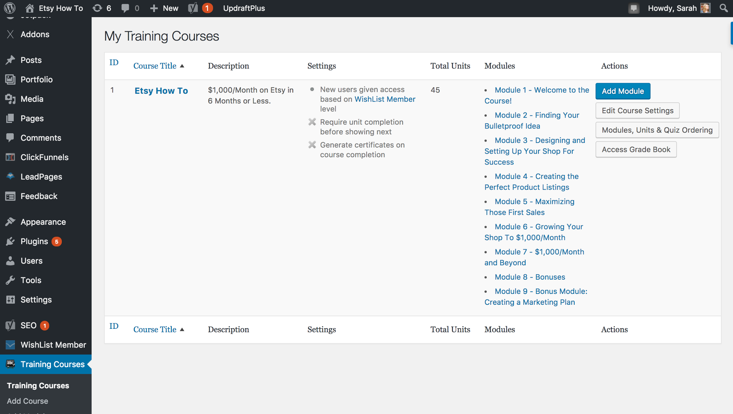 Screenshot of a wordpress plugin that allows you to add training courses on your wordpress site