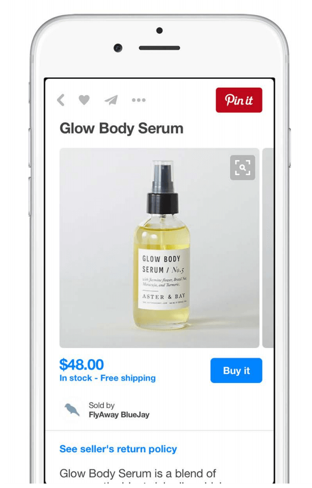 """Screenshot showing a """"pin it"""" pinterest button on the top right of an ecommerce store"""