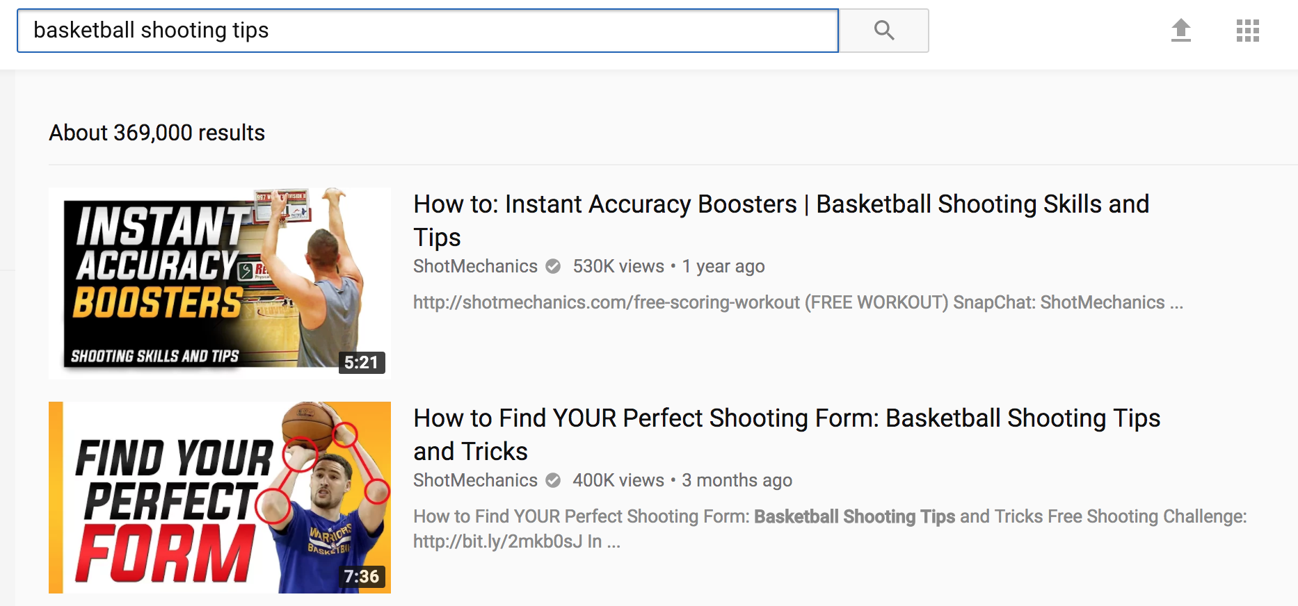 Screenshot showing youtube search results for basketball shooting tips